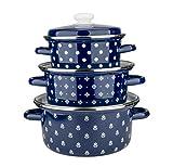 """Epos 3-Piece Enamel """"Saxonia"""" Cookware Set, Enamel Cooking Pots with Lid, #3 Spherical Pans with Stainless Still Rim ( 2.11 Qt; 3.17 Qt; 5.8 Qt)"""