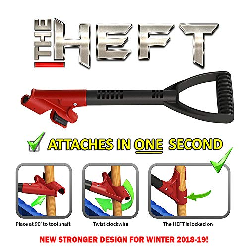 The Heft Plus Secondary Back Saver Handle for Snow Shovels and Garden Tools as Seen on Dragon's Den (Canada Shark Tank) (1 ct., Standard) (Team Shovel)