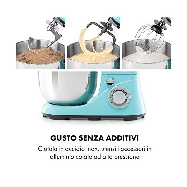 Klarstein Bella Pico 2G - Robot da Cucina, Mixer, Impastatrice, 1200 W / 1,6 PS, 6 Livelli, Sistema di Miscelazione… 4