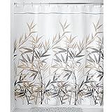 InterDesign Anzu Fabric Shower Curtain, Long 72 x 84, Black/Tan