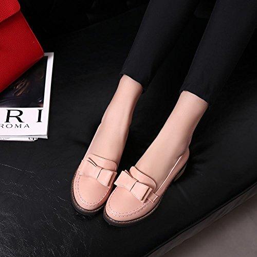 Womens Cute Bows Shoes Dress Casual Low Heel Pink Sweet Carolbar dqCUd