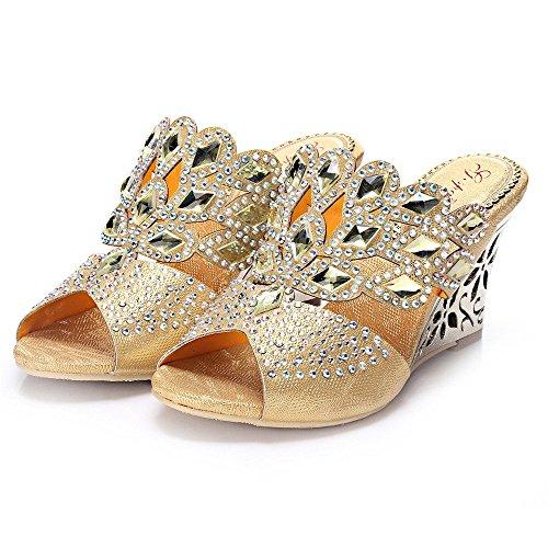 Unicrystal - Sandalias con cuña para mujer, diseño con diamantes Dorado - dorado