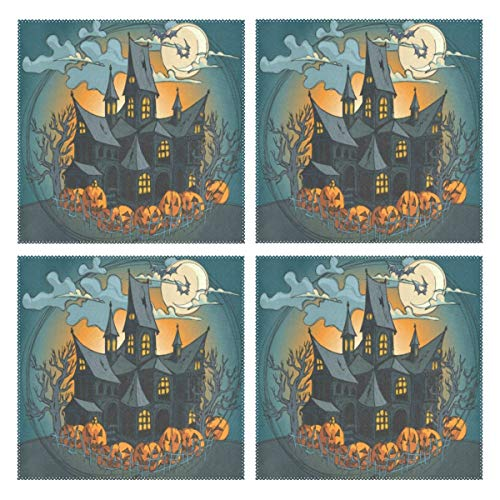 GREEDCLOUD Heat Resistant Placemats for Kitchen Table Mats for Dinning Room,Halloween Haunted Castle Full Moon Night Washable Insulation Non Slip Placemat 12x12 inch Set of 4 -