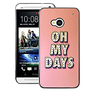 A-type Arte & diseño plástico duro Fundas Cover Cubre Hard Case Cover para HTC One M7 (Oh My Days Broadway Music Star Peach)