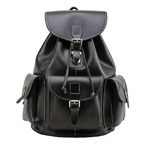 Polare Full Grain Leather Backpack Vintage College Laptop Bag (Black) by Polare