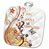 3dRose 3D Rose Sing Dance Enjoy Life Red N Gold Floral Scroll Pot Holder, 8'' x 8'', Red and Gold