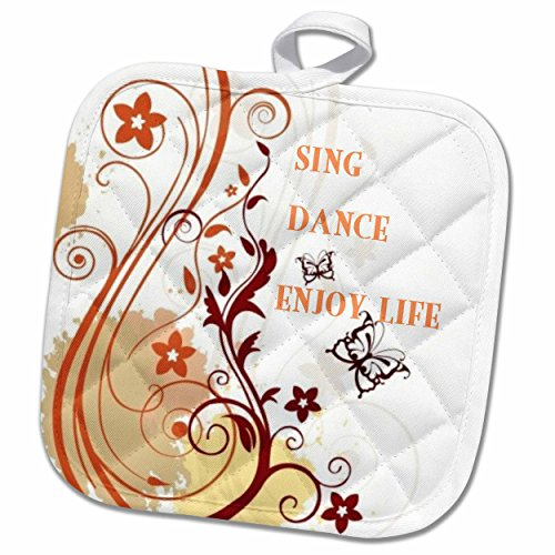 3dRose 3D Rose Sing Dance Enjoy Life Red N Gold Floral Scroll Pot Holder, 8'' x 8'', Red and Gold by 3dRose