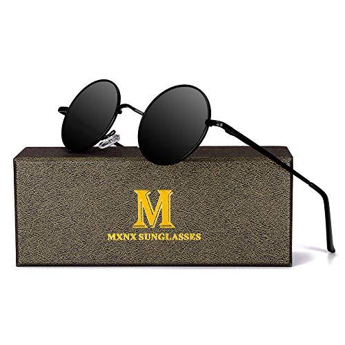 - Retro Round Sunglasses for men John Lennon women Vintage Polarized Hipple Small Circle Sun Glasses MXNX209 -(Black/Black Lens)