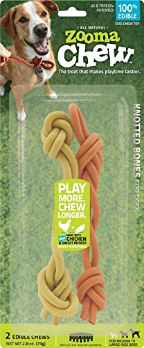 ZoomaChew 2 Count Knotted Bones, Large Natural Rawhide Cane