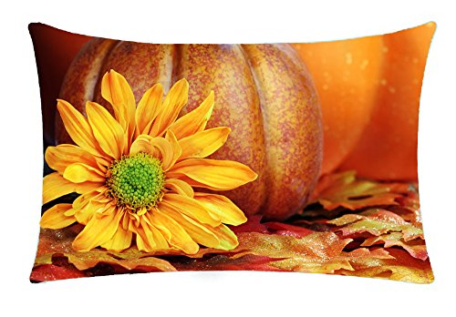 Happy fall maple leaf pumpkin Cotton Linen Throw Pillow covers Case Cushion Cover Sofa Decorative Square 12 X 20 inch (2) -