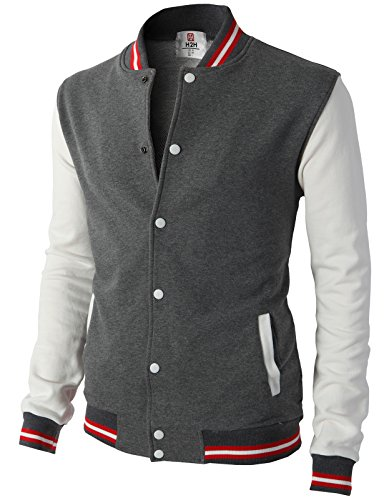 H2H Mens Slim Fit Varsity Baseball Bomber Cotton Lightweight Premium Jacket  Cmoja082-charcoal - Suit Charcoal Coat Stripe