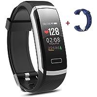 Salandens Smartwatch Pulsera Inteligente,Pulsera Actividad Impermeable IP67 monitores de actividad con Pulsómetro y Presión Arterial , Monitor de Calorías, Sueño,Podómetro,Relojes Deportes GPS para Mujer Hombre Fitness Tracker para Android y iOS Teléfono móvil (Negro)