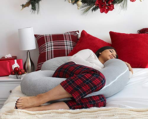 PharMeDoc Pregnancy Pillow with Jersey Cover, C Shaped Full Body Pillow Grey - Includes Travel Bag
