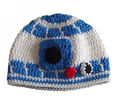 Milk protein cotton yarn handmade baby R2D2 hat - fits 1 to 3 Year old