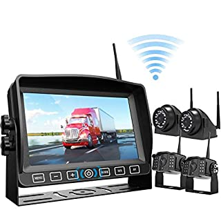 """Wireless Backup Camera Kit 7"""" Monitor W/Upgraded Recorder Backing Up for RV Trailer Truck Camper Bus, Digital FHD 1080P Waterproof Front Rear Side View Camera Extra Stable Signal DVR System Xroose TW4"""