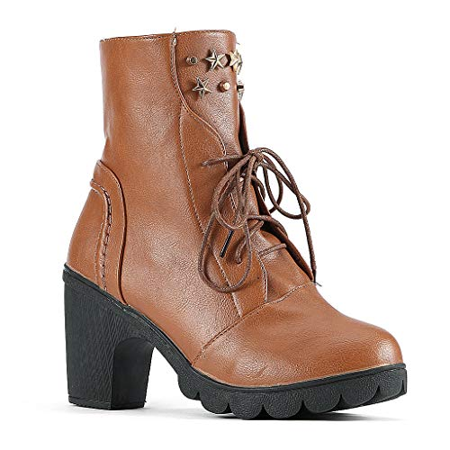 Cenglings Women's Round Toe Mid-Calf Boots Vintage Lace Up Ankle Booties Cowboy Motorcycle Boots High Chunky Heel Shoes Brown