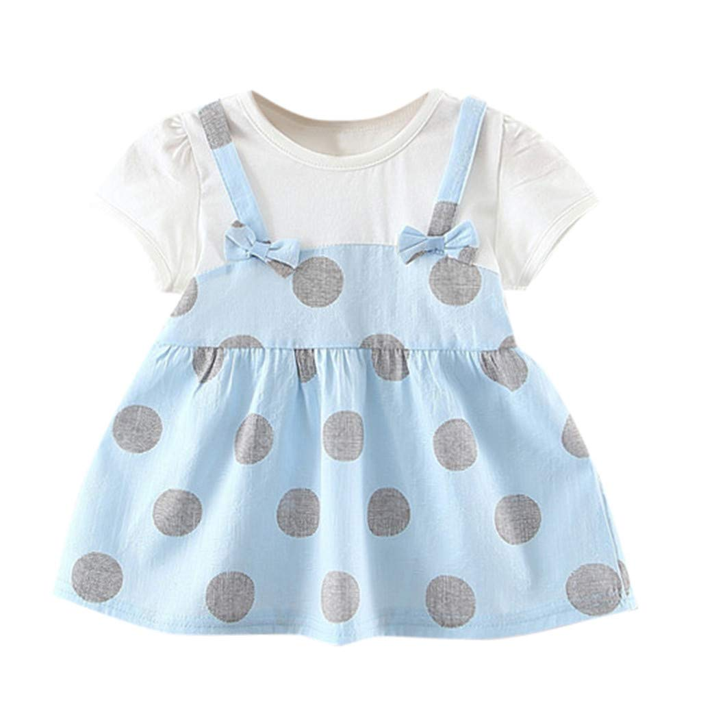 NUWFOR Toddler Baby Kids Girl Dot Patchwork Tulle Skirt Party Princess Dresses Clothes(Blue,6-12Months)