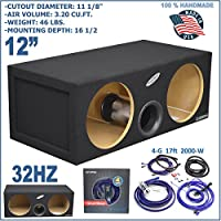 12 DUAL PRO VENTED SUB BOX AERO PORT TUBE PORTED + 4 GAUGE AMP KIT