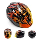 Cheap YOSIL 5-10 Years Old Children Mini Riding Helmets (12.6-17.7 inch) Skating/Single Board Skiing/Scooter/Balancing Bicycle Protective Helmet (Black Flame)