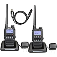 Retevis RT87 2 way radio 128 channels Encryption IP67 Waterproof Ham Radios (Black,2 pack) with FM Function and Programming Cable