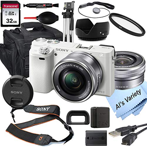 Sony Alpha a6000 (White) Mirrorless Digital Camera with 16-50mm Lens + 32GB Card, Tripod, Case, and More (18pc Bundle)