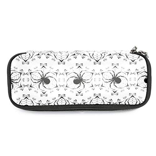 MAPOLO Halloween Black Spider Web Pencil Case Pencil Bag Makeup Pouch Students Stationery Pen Holder for School/Office