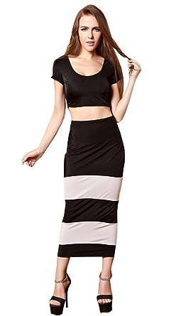 Wogue Womens Sexy Slim Two Piece Dress Stripe Club Suit Uniform