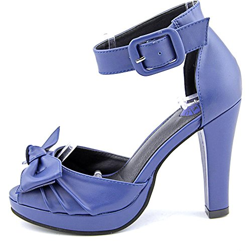 T.U.K. Shoes Womens Knotted Bow Navy Starlet Heel Blue