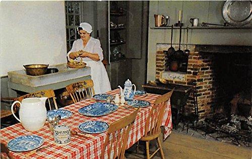 - Table is Set with flow blue Staffordshire Pliny Freeman farmhouse Old Sturbridge Village Massachusetts Postcard