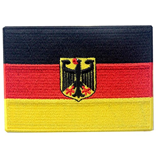 German Coat of Arms Flag Embroidered Patch Germany Eagle Iron On Sew On Bundesdienstflagge (Flag Eagle Embroidery)