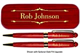 Dayspring Pens - Personalized DELUXE Rosewood Pen and Pencil Set with Case. Engraved Wood Gift for Men or Women.