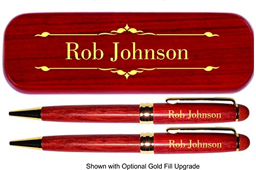 Dayspring Pens - Personalized DELUXE Rosewood Pen and Pencil Set with Case. Engraved Wood Gift for Men or Women. (Engraved Pen Pencil Sets)