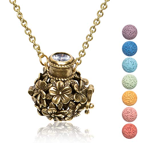 (Kayder Essential Oil Diffuser Flower Ball Filigree Locket Aromatherapy Pendant Necklace with 7 Color Chakra Lava Rock Bead Inserts, Retro Bronze Yoga Necklace for Women Girls, 20
