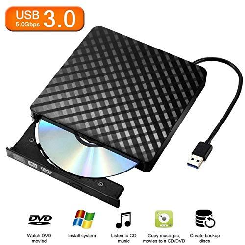 External CD/DVD Drive for Laptop & Macbook USB 3.0 Plug Quick Data Transfer, Fast Writing & Reading Speed 8 X DVD –R, Ultra Thin - Tecnugiz by TOBSKBY