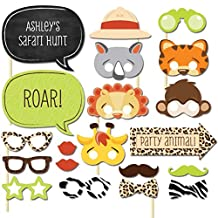 Flower.Princess Photo Booth Props DIY Kit for Birthday Party Wedding & Photobooth Reunions Dress-up Costume Accessories with Animal Mask Tiger Lion Rabbit Monkey 20 PCS