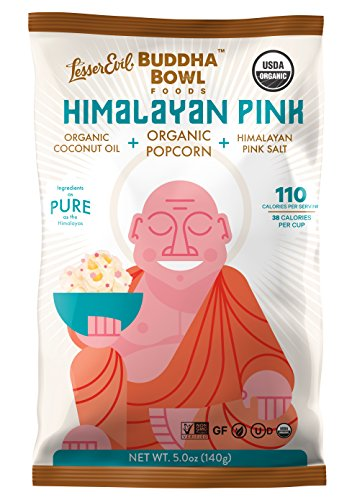 LesserEvil Buddha Bowl Organic Popcorn, Himalayan Pink, 5.0 Ounce (Pack of 12) made in New England