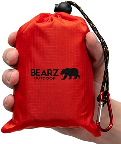 BEARZ Outdoor Beach Blanket, Waterproof Picnic Blanket 55″x60″ – Lightweight Camping Tarp, Compact Pocket Blanket, Festival Gear, Sand Proof Mat for Travel, Hiking, Sports – Packable w/Bag
