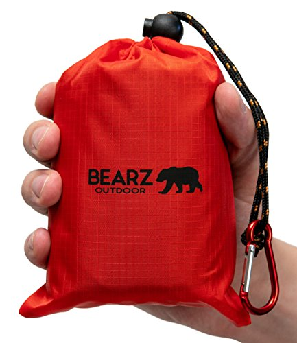 BEARZ Outdoor Beach Blanket/Compact Pocket Blanket 55″x60″, Waterproof Ground Cover/Sand Proof Picnic Mat for Travel, Hiking, Camping, Festivals - Durable Tarp w/Corner Pockets, Loops & Bag (Red)