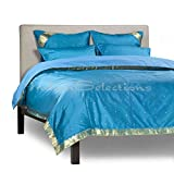 Turquoise - 5 Piece Handmade Sari Duvet Cover Set with Pillow Covers / Euro Sham - Queen