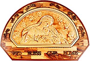 G.K Holy Land Item Mother Mary with Jesus Frame, Brown