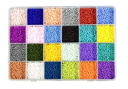 Glass Seed Bead Earrings - Mandala Crafts Glass Seed Beads, Small Pony Beads Assorted Kit with Organizer Box for Jewelry Making, Beading, Crafting (Round 2.1X1.8MM 11/0, 24 Assorted Multicolor Set Combo 2)