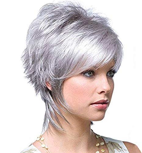 Short Silver Wigs for Women Pixie Wigs with