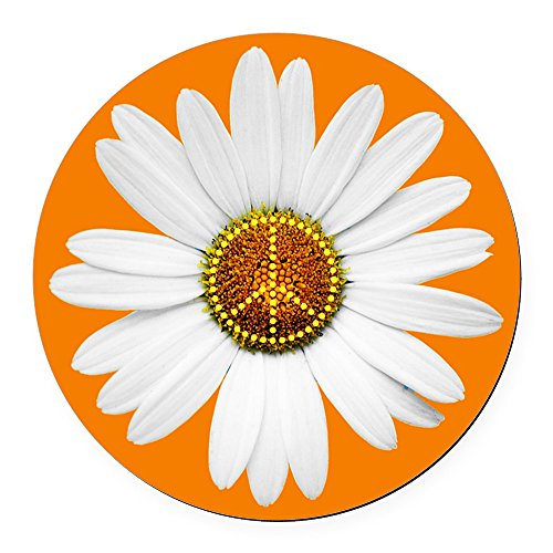 CafePress - Peace Sign Car Magnet / Peace Daisy - Round Car Magnet, Magnetic Bumper Sticker (Round Magnetic Signs)