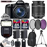 Canon EOS 70D DSLR Camera + Canon 18-55mm IS STM Lens + Canon Speedlite 430EX III RT + 64GB Storage + Backup Battery + UV-CPL-FLD Filters + Wrist Grip Strap + Wireless Remote - International Version