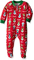 Sara's Prints Baby Girls' Soft Footed Pajamas, Merry Christmas, 12M