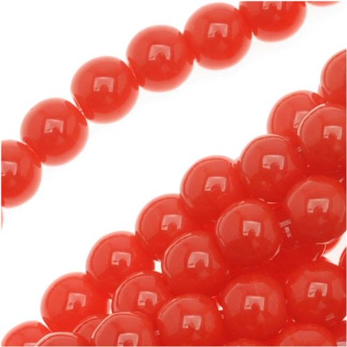 Czech Glass Druk Round Beads 4mm Opaque Bright Red (Bright Beads)