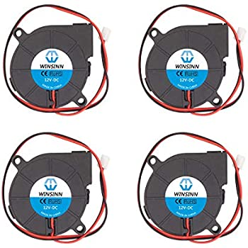 WINSINN 50mm Blower Fan 12V 5015 50x15mm Turbine Turbo Brushless Cooling for DIY 3D Printer Extruder Hotend MK2 MK3 MK7 MK8 (Pack of 4Pcs)