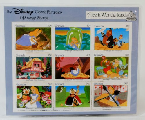 """Disney Classic Fairytales in Postage Stamps """"Alice in Wonderland"""" 9 Piece Grenada Stamp Sheet (30 Cents Each)"""