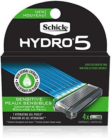 Schick Hydro 5 Sense Sensitive Skin Razor Refills for Men, Pack of 4