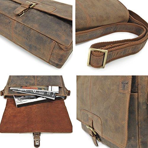 Bolsa de piel para hombre, bandolera de cuero natural para mujer URBAN FOREST, DIN A4, bandolera con compartimento para portátil hasta 13', 36 x 28 x 10 cm, color: negro. coñac
